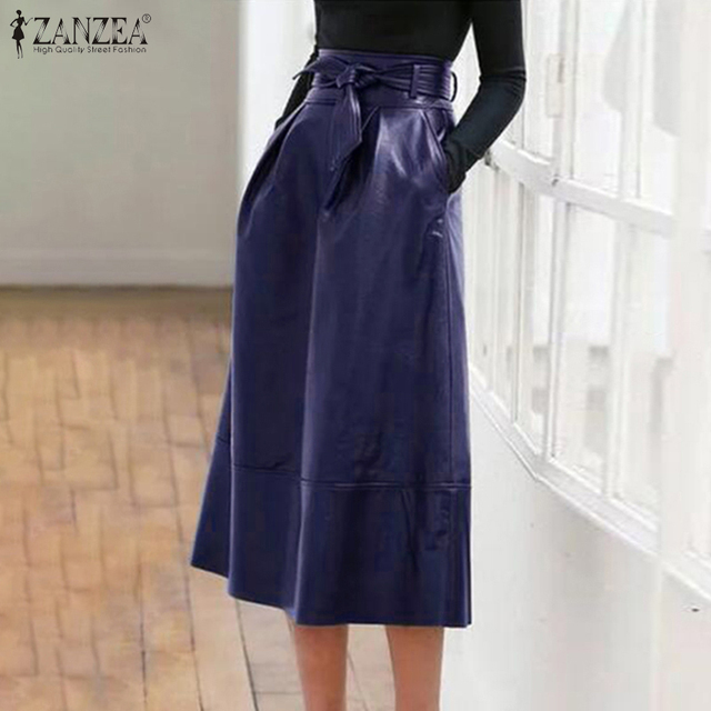 High Waist Solid Midi Skirt PU Leather