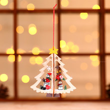 3D Christmas Ornament Wooden Hanging Pendants Star Xmas Tree Bell Christmas Decorations for Home Party DIN889(China)