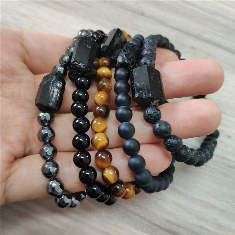 natural black raw rough tourmaline tourmli mineral energy healing stone tiger eye onyx hematite beaded bracelets for man women