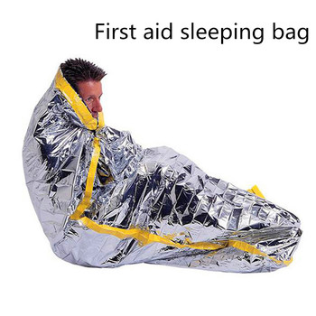 Wilderness Evacuation Rescue High Quality sunscreen insulation blanket Reusable Survival Foil Camping Sleeping Bag First Aid image