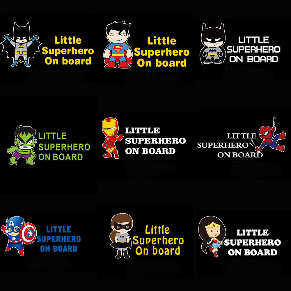 Little Superheroes Baby aan Boord Auto Sticker En Decals Voor Auto Accessoires op Windows Muur Lichaam Full Body Auto Stickers