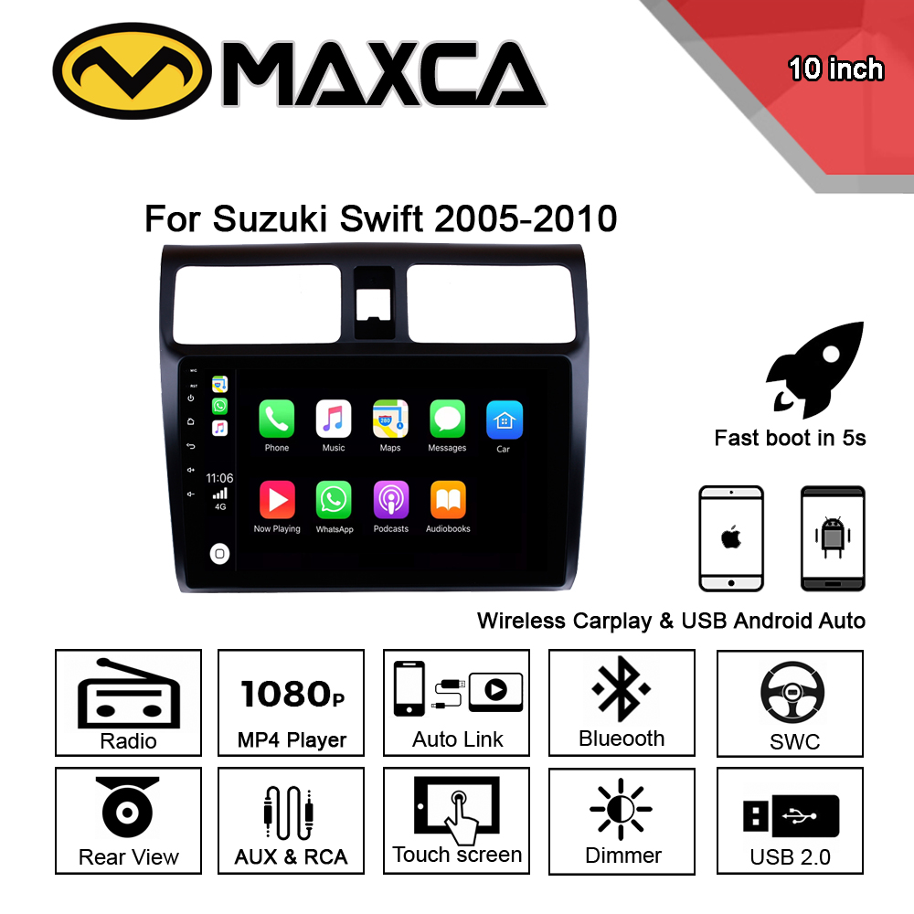 MAXCA <font><b>10</b></font> inch Wireless Carplay & Android auto radio For Suzuki Swift Multimedia Video Player image
