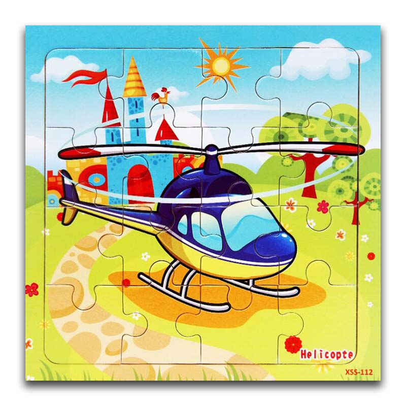 16 Pieces Kids Puzzle Vehicle Wooden Puzzles Cartoon Car Helicopter Traffic Wood Jigsaw Baby Educational Learning Toys Children Puzzles Aliexpress