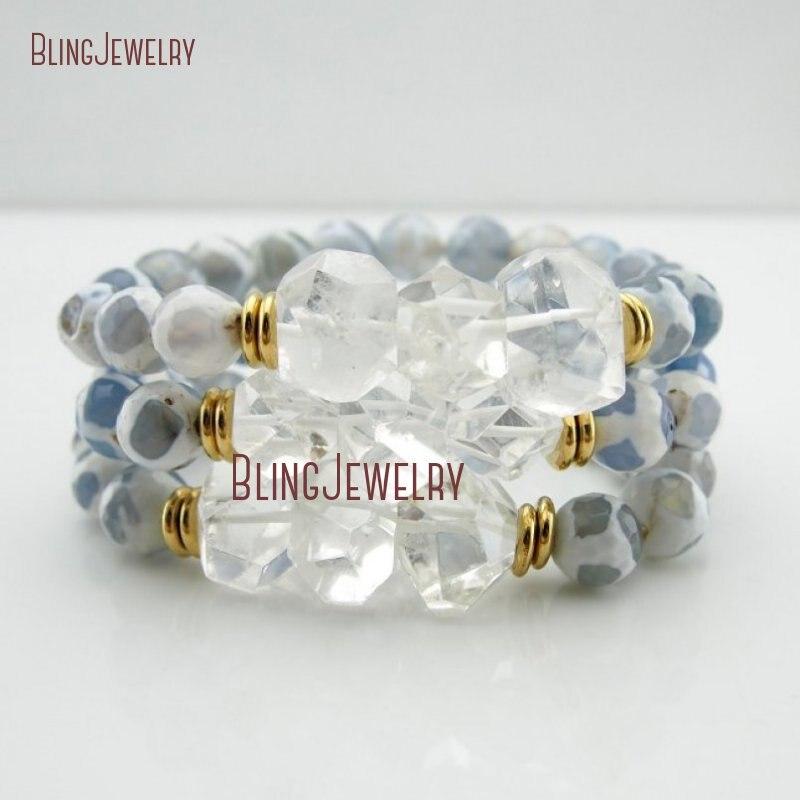 Целебный Прозрачный кристаллический кварц самородки синий жираф Агатовые Бусины Браслеты Многослойные браслеты BM27869