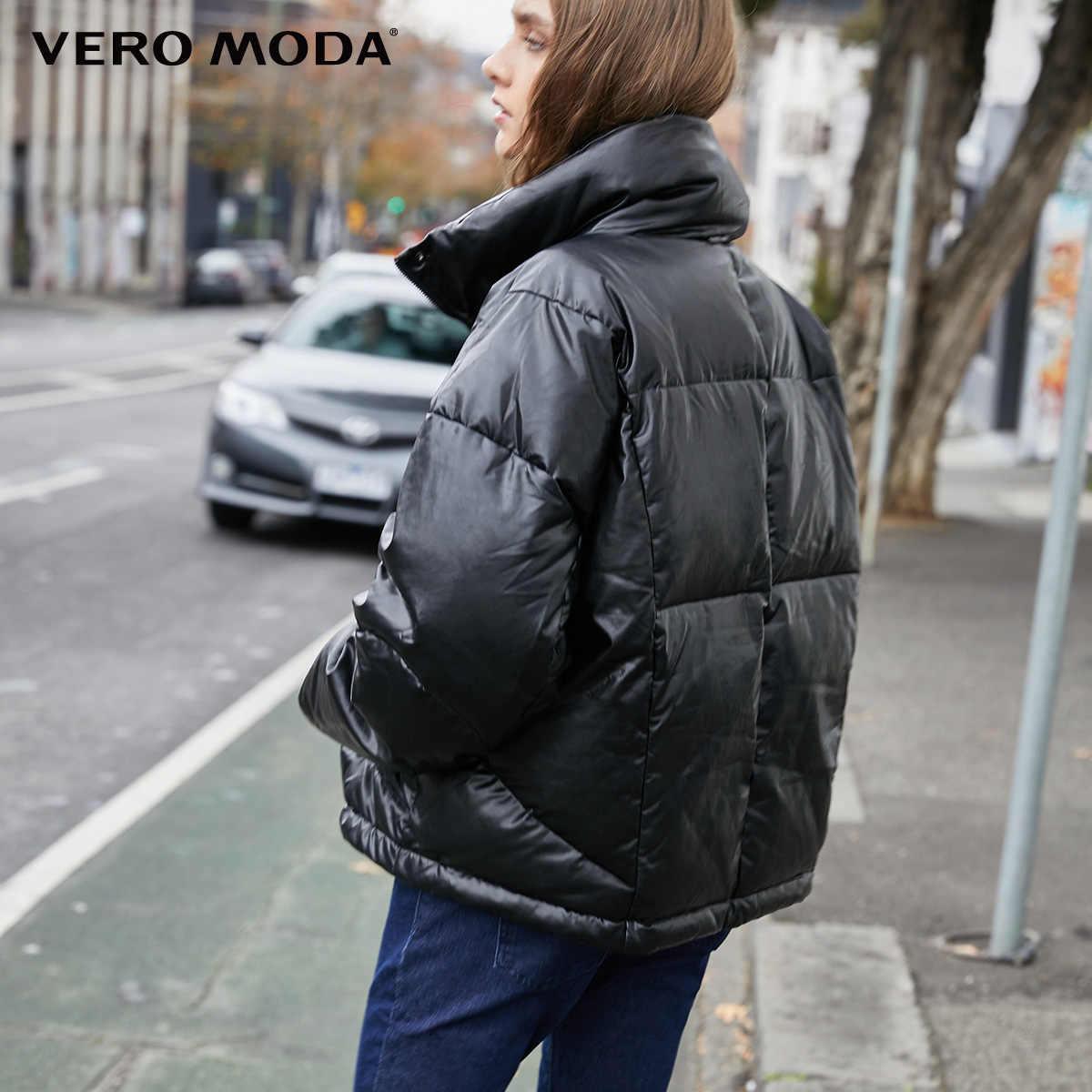 Vero Moda New Women's PU Fabric Orange Stand-up Collar Down Jacket | 319423516