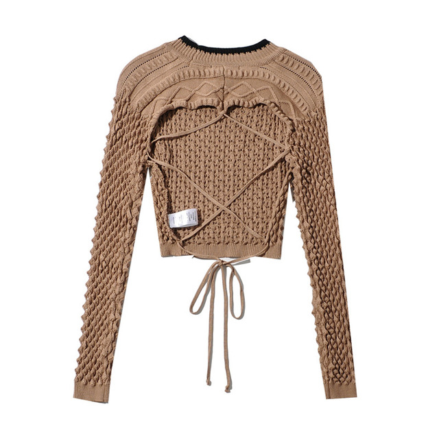 [DEAT] Tide Fashion New 2021 Spring summer Round Neck Hollow Out Solid Backless Color Knitting  Loose Sweater Women 13C215 2