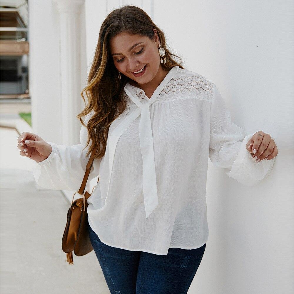 Mode femmes Blouses automne automne à manches longues dentelle blanc chemises de grande taille dames hauts bureau travail Blouses Chemise Femme
