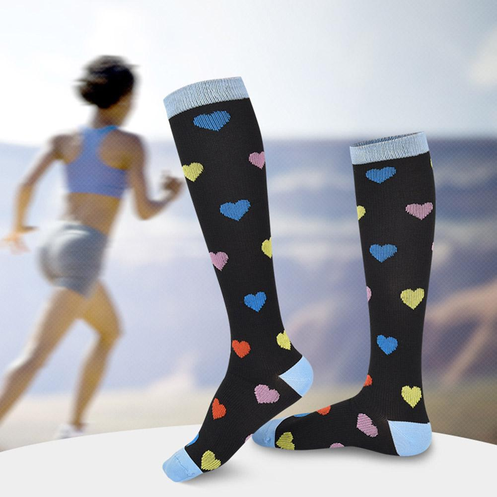 Thigh High Socks Sports Women Love Heart Stockings Elastic Graduated Compression Knee High Socks Calcetines Mujer гетры женские