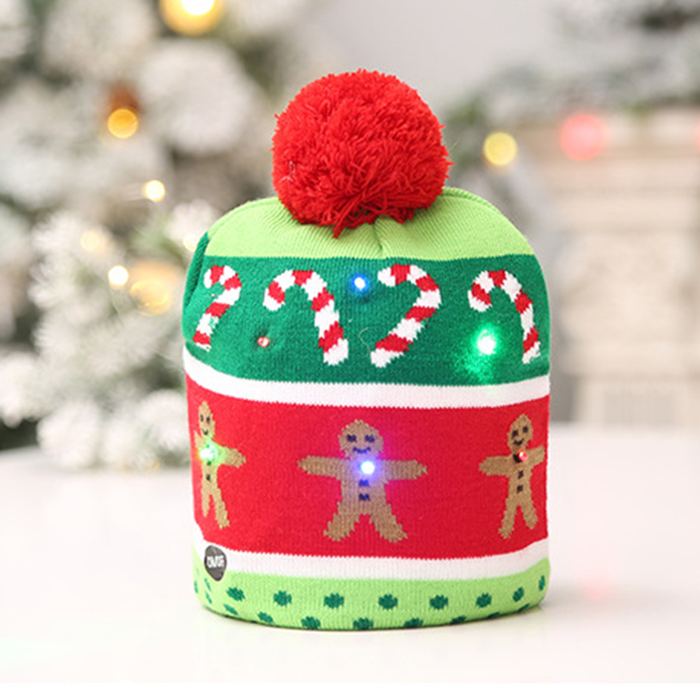 Children Christmas Party Hat Toy LED Knitted Christmas Beanie Hat With Scarf Christmas Tree Snowflake Beanie Light Up Warm Hat