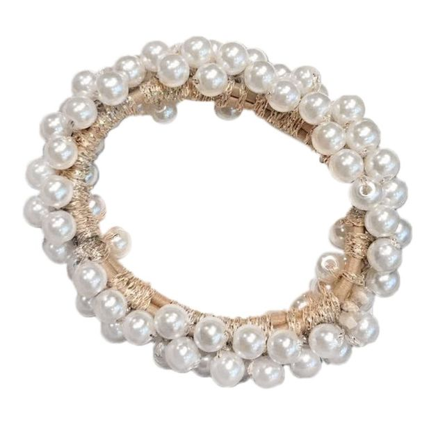 Women Pearls Bead Elastic...