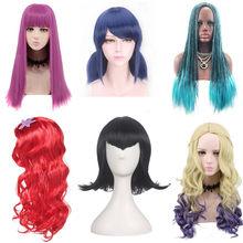 Filme descendentes 3 evie mal uma peruca cosplay crianças feminino festa de halloween sereia/coringa/mavis/neve joaninha branca peruca role play
