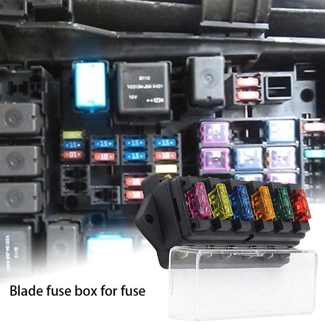 Car Van Ship Ocean 6 Way Chip Fuse Block Bracket With Cover + 6 Blade Fuse Block 12 V / 24 V Multicolor