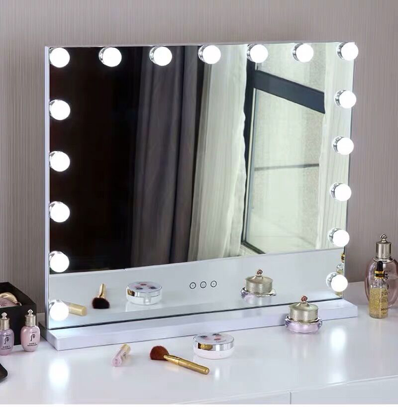 Hollywood Makeup Mirror With Light Vanity Tabletops Lighted With Dimmer LED Illuminated Cosmetic Beauty Mirror Adjustable
