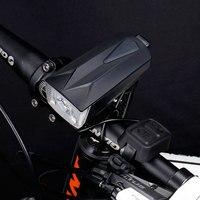 자전거 헤드 라이트 + 경적 1800 mah 130db 6 라이트 모드 usb 충전 자전거 전면 led 램프 랜턴 오디오 경고 사이렌 경고