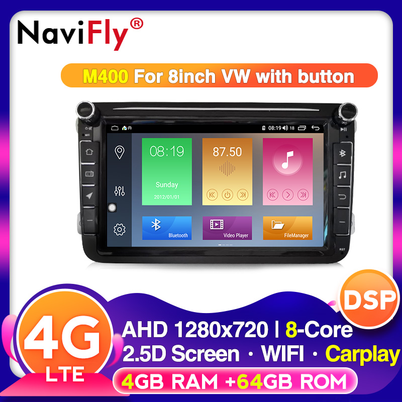 NaviFly voice control 2din Android 10 for Volkswagen VW Golf Passat B6 Polo CC Skoda seat Car Multimedia radio device