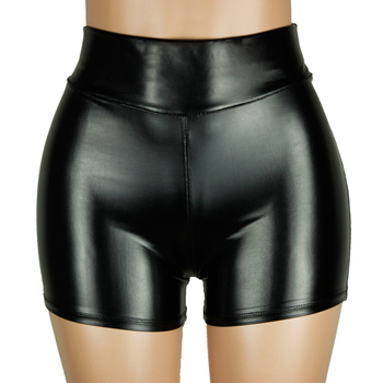 High Quality New 2019 PU Leather Shorts Women Sexy Women Short Pants Slim Casual Elastic Waist Shorts Plus Size Hot Pants S-3XL 2