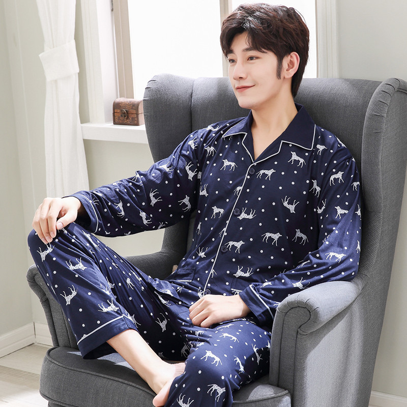 2018 New Style Men Spring And Autumn Long Sleeve Loose And Plus-sized Youth Middle-aged Fashion Home Pajamas Suit