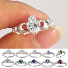 Multi-color Hand-held Love Heart-shaped Ladies Ring Zircon Imitation Diamond Copper-plated Silver Engagement Ring Female Jewelry(China)