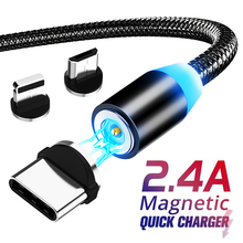 цена на Magnetic Micro USB 8 Pin Cable For  Samsung Lighting Fast Charging Data Wire Cord Magnet Charger Type C Mobile Phone Cable