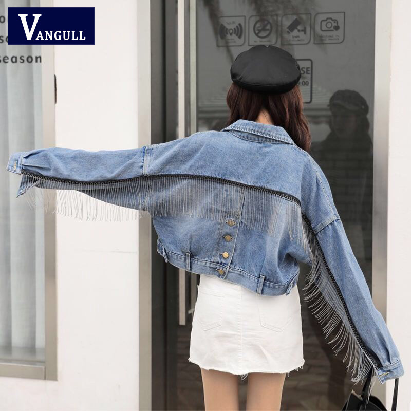 Vangull Women Bat Sleeve Tassel Short Loose Burr Denim Jacket Female Fashion Oversize Outwear 2019 Autumn Streetwear Jean Coat