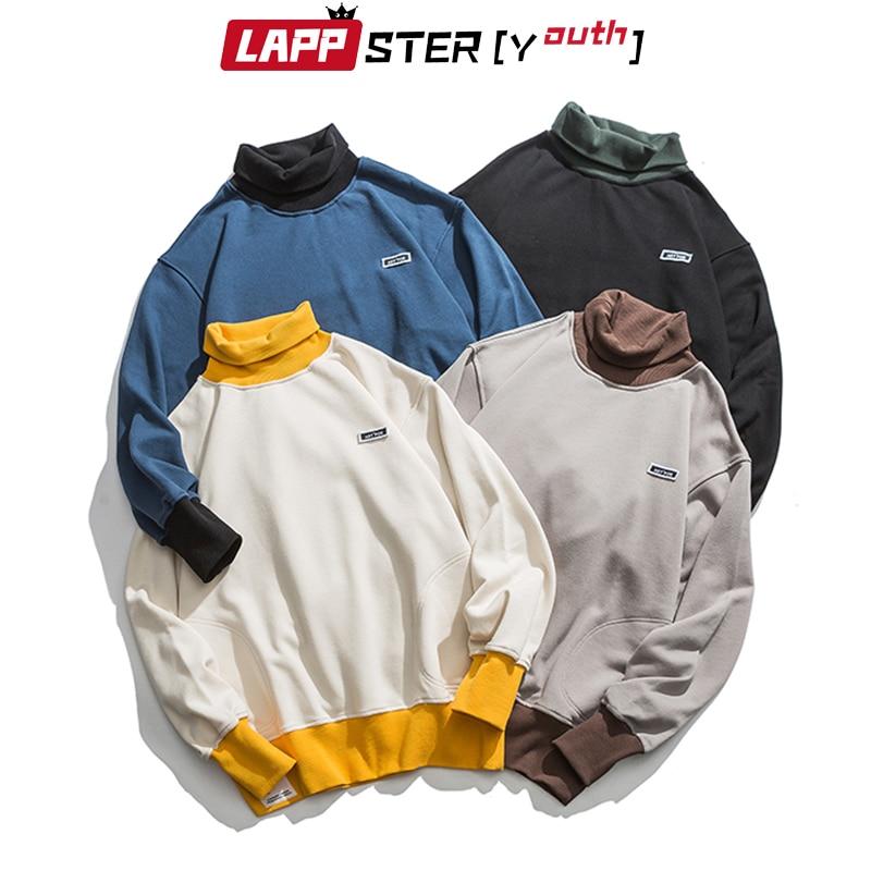 LAPPSTER-Youth Men Turtleneck Hoodies 2020 Mens Color Bock Streetwear Sweatshirts Male Korean Fashions Hip Hop Loose Hoodies