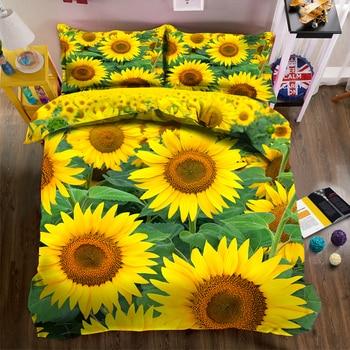 Customizable print Bedding Duvet Cover set Yellow Sun Flower Pattern Double Bedding set 3pcs Soft Quilt Cover Pillowcase CP-016