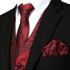 Image 4 - 3pc Sets/Mens Suit Vest+Tie+Pocket Square/Fashion Jacquard Paisley Tuxedo Vest Waistcoat Men/Wedding Vest/Prom Vest/Party Vest
