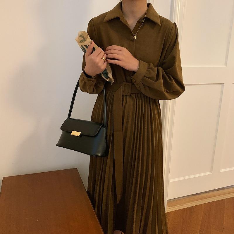 Hcd2143b9292848128d46531d899330252 - Autumn Turn-Down Collar Long Sleeves Pleated Solid Midi Dress