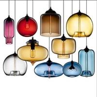 Nordic Loft Led Anhänger Lampe Moderne Farbe Glas Anhänger Lichter Wohnzimmer Restaurant Schlafzimmer Leuchten Leuchte Beleuchtung-in Pendelleuchten aus Licht & Beleuchtung bei