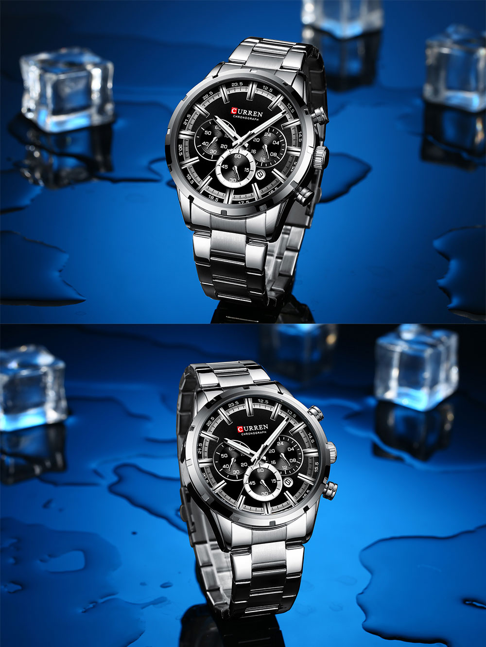 Hcd2165b261814a4d8142ac9dabe05f46Q CURREN Top Brand Military Quartz Watches Silver Clock Mens Quartz Stainless Steel Chronograph Watch for Men Casual Sporty Watch