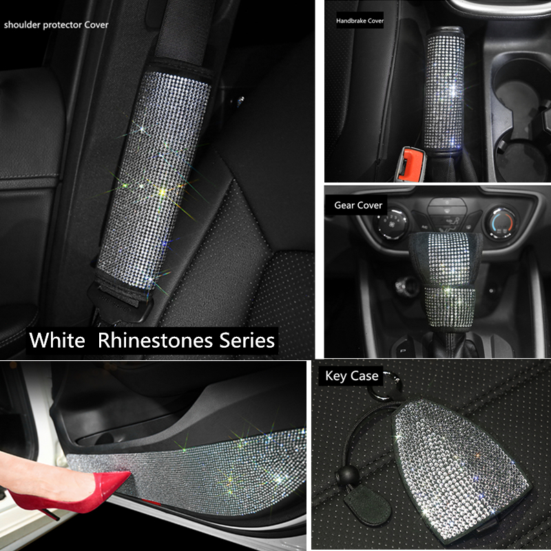 rhinestone <font><b>car</b></font> accessories <font><b>for</b></font> <font><b>women</b></font> Bling interior set handbrake <font><b>cover</b></font> gear shift <font><b>cover</b></font> steering <font><b>wheel</b></font> <font><b>cover</b></font> <font><b>for</b></font> <font><b>car</b></font> image