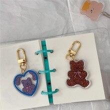 Ins Cartoon Cute Bear Flash Powder Keychain Vintage lanyard Kawaii Accessories Fashion Key Holder Backpack Decorative Pendant