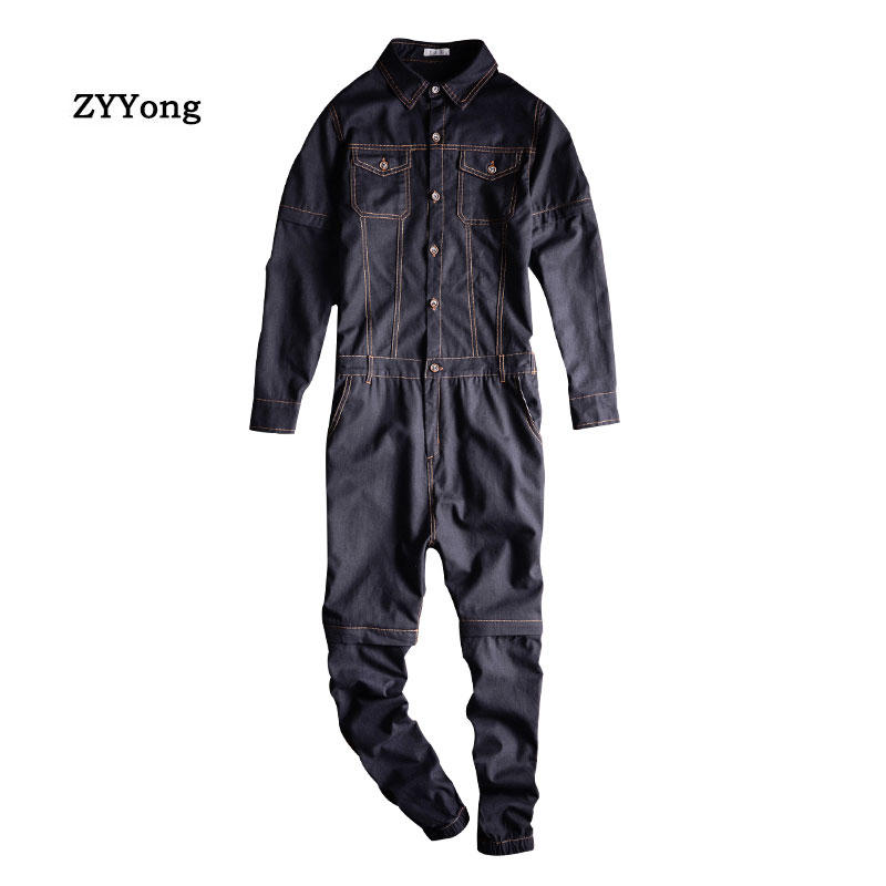 ZYYong Detachable Sleeve Short Men's Denim Jumpsuits Two Way Overalls Black Purple Fashion Jeans Trousers Hip-Hop Cargo Pants