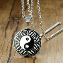 Modyle New Black Epoxy Stainless Steel TaiJi Yin Yang Pendant Necklace for Men