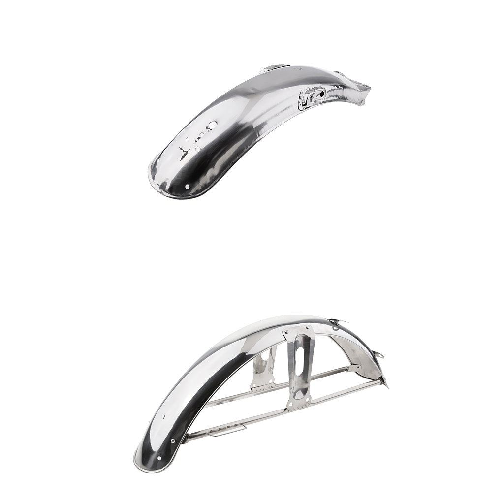 2pcs Motorcycle Front/Rear Fender Mudguard Direct Replacement For Honda CG 125, Stainless Steel (58cm + 55cm)