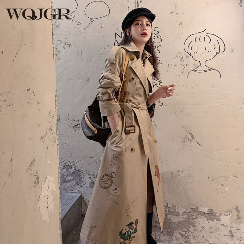 WQJGR 2020 Autumn Trench Coat Women Long Sleeve Printing Windbreaker Double Breasted Trench Femme