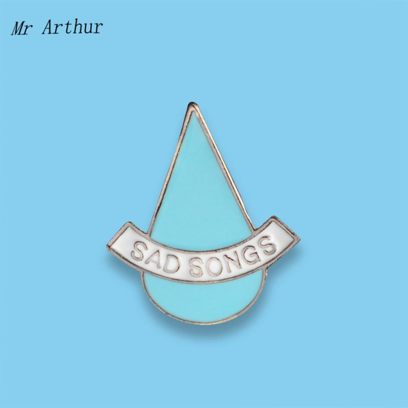 Blue Water Drop Enamel Pin SAD SONGS Badge Brooch Backpack Clothes Lapel Pin Fashion Jewelry Gift for Friends image