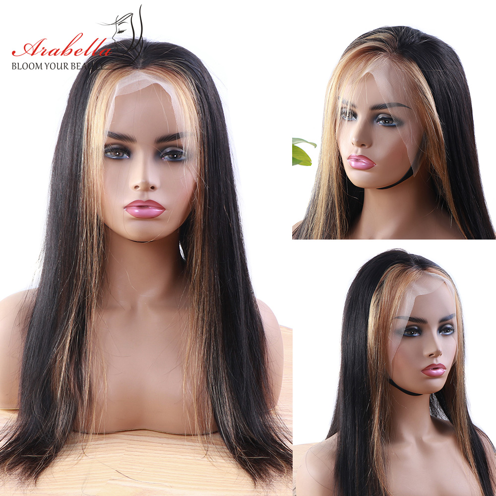 Highlight Wig 13*4 Lace Front 100% Human Hair Wig Arabella Peruvian Straight Remy Hair 180 Density Lace Front Wig Blonde Streaks