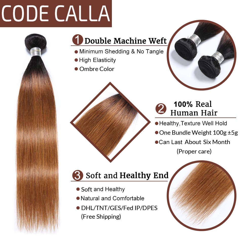 Code Calla Ombre Color Straight Hair Bundles With Lace Closure Brazilian Remy Human Hair Weave Weft Extension Free Shipping in 3 4 Bundles with Closure from Hair Extensions Wigs