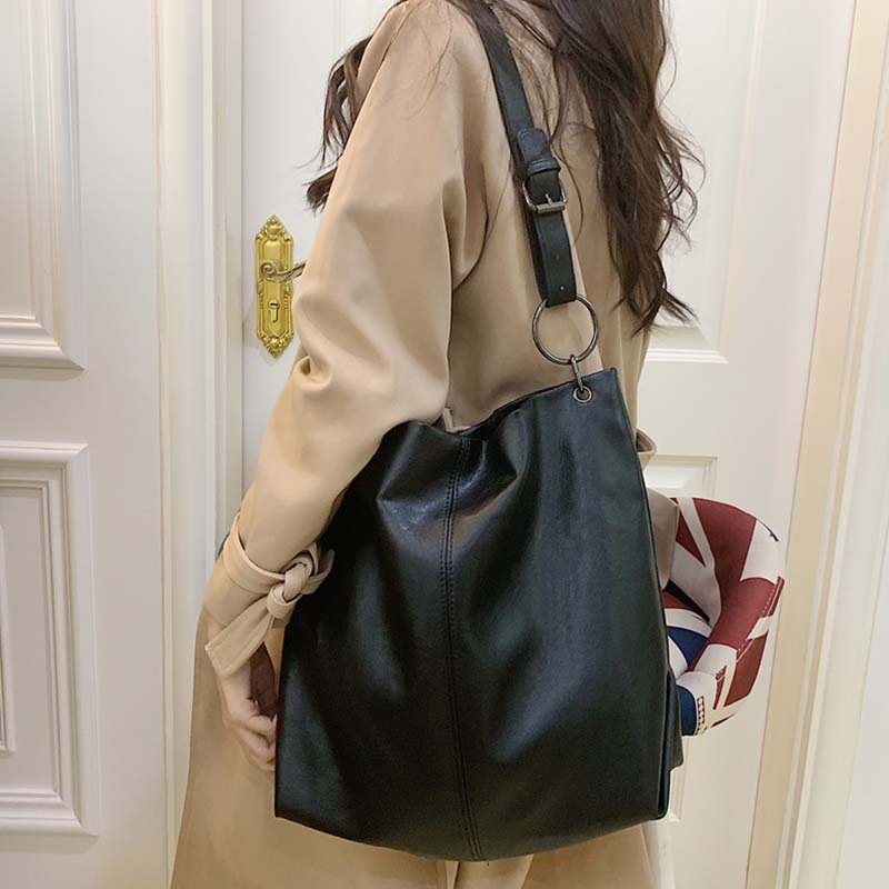 Fashion Large Capacity Tote For Women Big Handbags Korean Style Pu Big Shoulder Bags For Ladies Handbags Casual Solid Color Tote