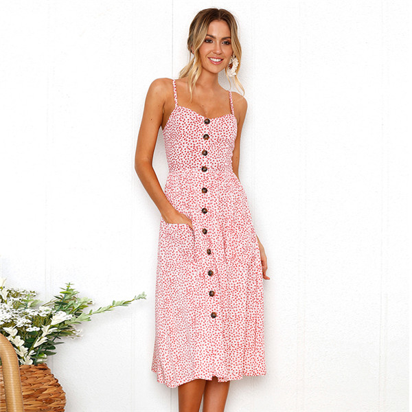 Boho Sexy Floral Dress Summer Vintage Casual Sundress Female Beach Dress Midi Button Backless Polka Dot Striped Women Dress2020  18