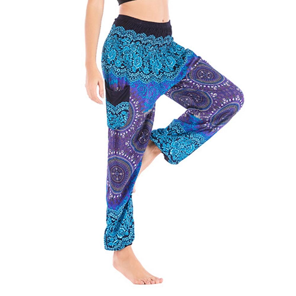 One Size Fashion Print Harem Pants Woman Vintage Elastic High Waist Summer Pants Streetwear Bohemian Trousers Beach Capris 2020