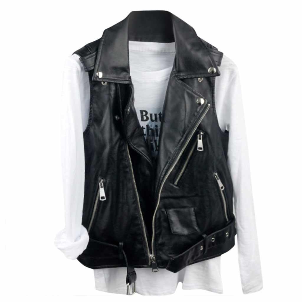 Faux Leer Vrouwen Zwart Vest Gilet Biker Mouwloze Jas Retro Vest Jas chalecos para mujer piel zorro genuina coletes