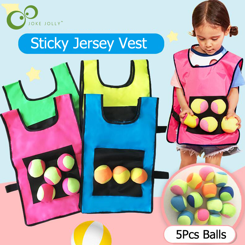 1Set Game Props Vest Sticky Jersey Vest Game Vest Waistcoat With 5 Sticky Ball Throwing Children Kids Outdoor Fun Sports Toy GYH(China)