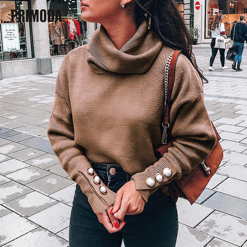 Plus Size Autumn Turtleneck Button Sleeve Knitted Sweaters Women Solid Pullovers Causal Thin Street Sweaters Knit Tops PR601M
