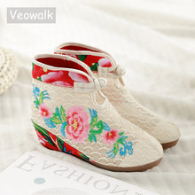 Veowalk Summer Cotton Flower Embroidered Women Short Ankle Lace Boots Brathable Ladies Hidden Wedges Platform Shoes Zapato Mujer
