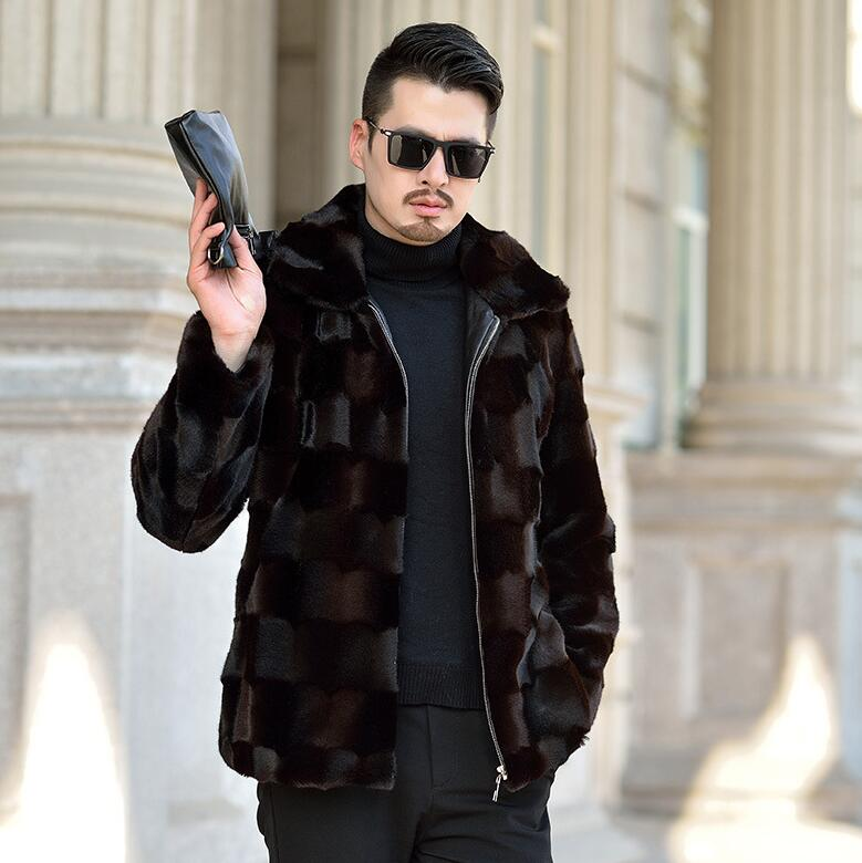 Lapel Autumn Faux Mink Leather Jacket Mens Winter Thicken Warm Fur Leather Coat Men Slim Jackets Jaqueta De Couro Black 964