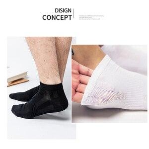 Image 2 - 10 Pairs yüksek kaliteli pamuklu erkek çorabı örgü nefes kısa erkek hediyeler iş eğlence spor erkek ayak bileği çorap artı boyutu 43 46