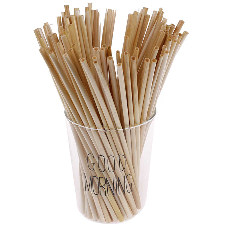 100PCS Wheat Straw 100% ECO-biodegradable Straws Environmentally Portable Disposable Drinking Straws Bar Kitchen Accessories