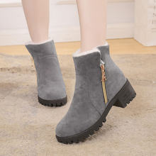 Classic Women Winter Boots Suede Snow Boots Female Warm Fur Plush Insole High Quality Round Toe Zip Mid-Calf Botas Mujer(China)